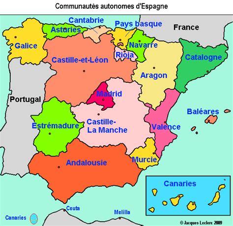 Espagne Carte Des Communaut 233 S Autonomes