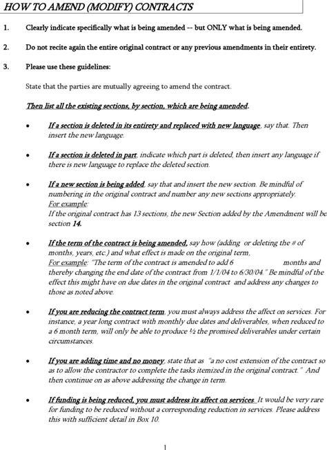 contract amendment template download free premium