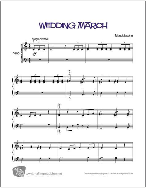 Wedding March (Mendelssohn)   Easy Piano Sheet Music