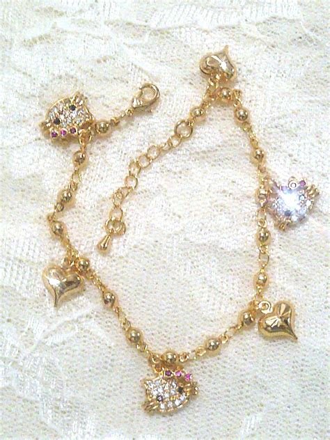 membuat gelang emas jual hello kitty fancy heart bracelets perhisan gelang