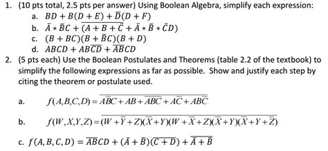 Solved: Using Boolean Algebra, Simplify Each Expression: B ... C- Boolean Function Examples