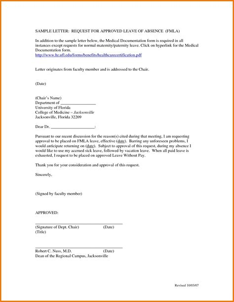 leave letter format for doctor appointment leave of absence letters sle fresh leave letter format