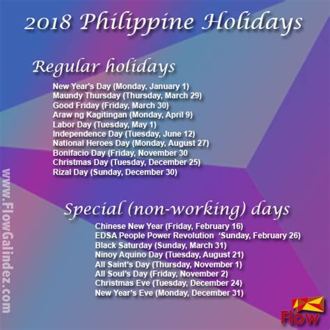 2018 Calendar Philippines With Holidays List Of 2018 Holidays In The Philippines Flowgalindez