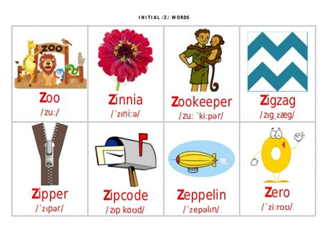 Words With The Letter Z In Them initial z flashcards