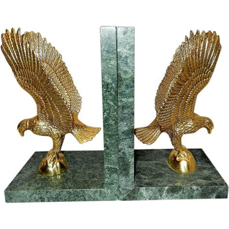 Antique Marble Ls by Vintage Gold Tone And Marble Eagle Bookends Sold On Ruby