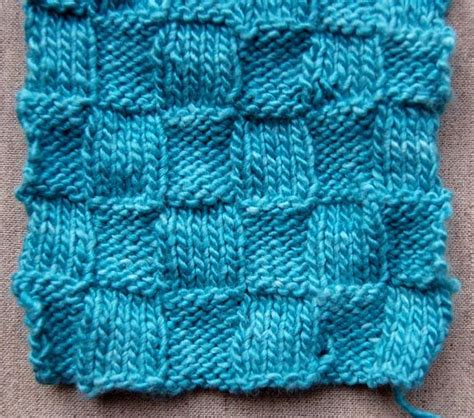 basketweave scarf pattern knitting knit in blue bit of handwork