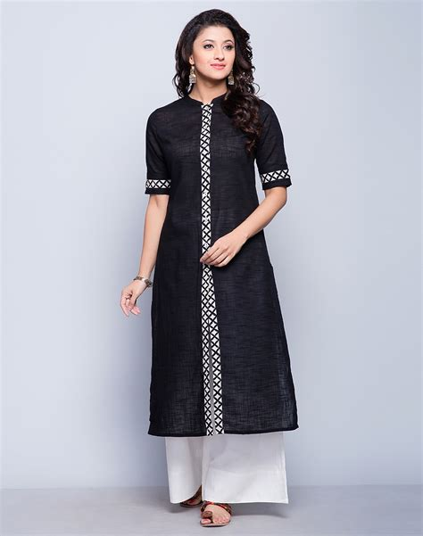 jacket pattern kurta for ladies buy fabindia black cotton slub discharge border long kurta
