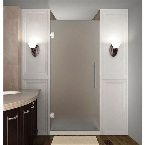 Framelss Shower Doors Aston Cascadia 34 In X 72 In Completely Frameless Hinged Shower Door With Frosted Glass In