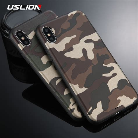 Bumper Armor Army Camo Camouflage Soft Casing Iphone 6 6s uslion armygreen camouflage phone for iphone x fashion armor soft tpu back cases