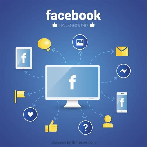 facebook layout free vector facebook wallpaper with icons in flat design vector free
