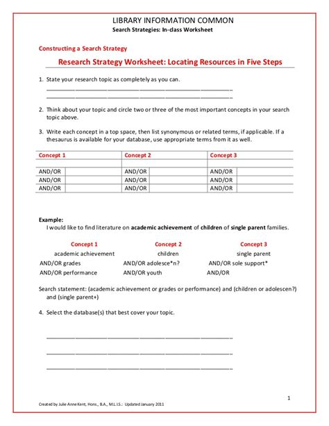 Boolean Search Worksheet by Search Strategies Worksheet In Class