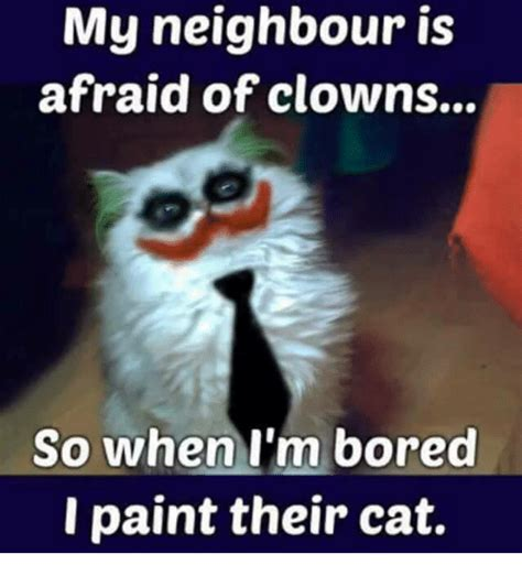 my is scared of me my is afraid of clowns so when i m bored i paint their cat bored meme on me me