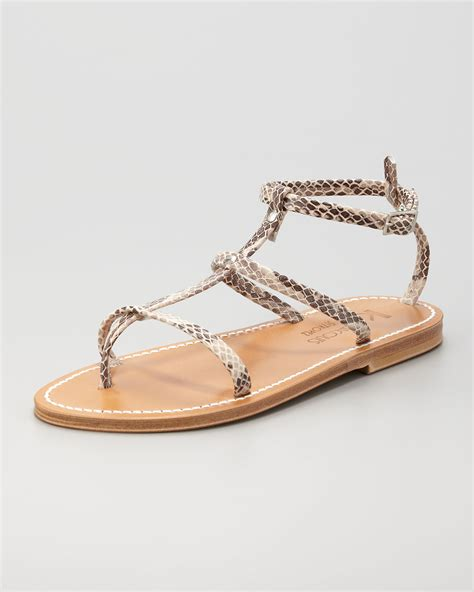 sandals at lyst k jacques womens snakeskin gladiator