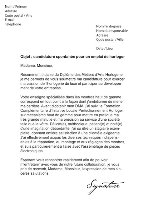 Lettre De Motivation Ecole Horlogerie Lettre De Motivation Horloger Mod 232 Le De Lettre