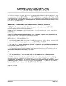 board resolution approving amendment to general by laws