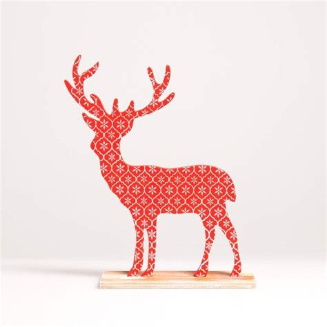 wooden christmas stag by little red heart