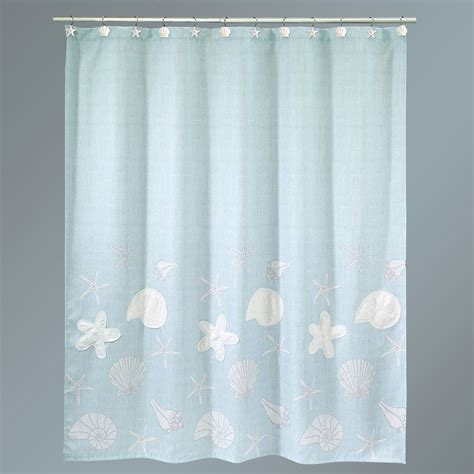 sower curtains sequin shells pale aqua coastal shower curtain