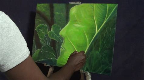 Painting Green 9 G how to draw painting living leaf abstract