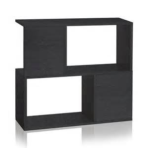 black modern 2 shelf bookcase formaldehyde free