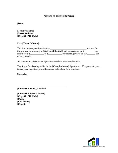 rent increase letter free template sle rent increase