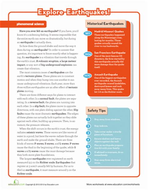 Worksheets On Earthquakes by Earthquake Science Worksheet Education