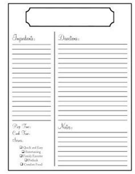 recipe scrapbooking printables and blank recipe cards on