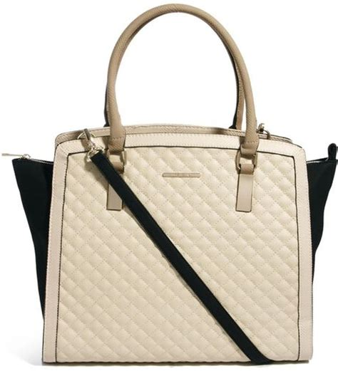 river island quilted winged color block tote bag in beige