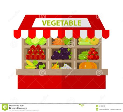 Local Vegetable Stall. Fresh Organic Food Products Shop