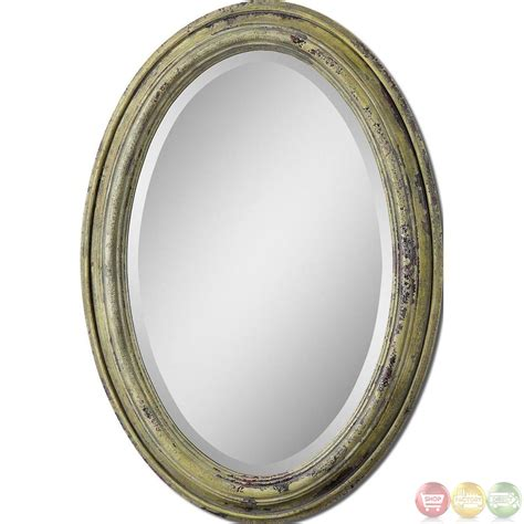 Oval Vanity Mirrors brizona traditional heavily distressed aged yellow oval vanity mirror 12835