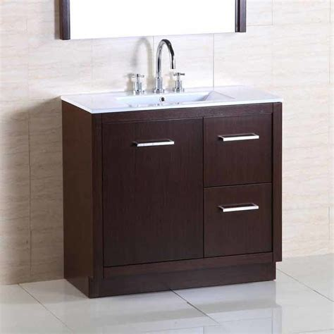 bathroom vanity with off center sink bellaterra 36 quot single sink bathroom vanity wenge white