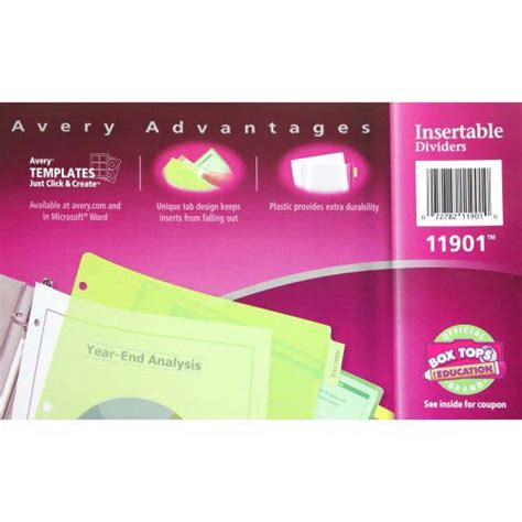 New Avery 8 Tab Multicolor Worksaver Big Tab Plastic Dividers 11901 72782119010 Ebay Worksaver Tab Inserts Template