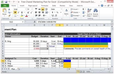 channel marketing plan template  excel