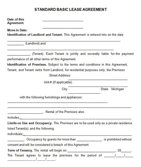 Basic Lease Agreement Template Business General Rental Agreement Template