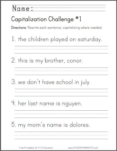 printable writing worksheets for year 2 capitalization challenge 1 ccss for first grade l 1 2