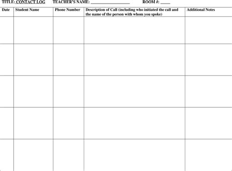 Parent Contact Log Template by Parent Contact Log Template 5 Free Parent Contact Log