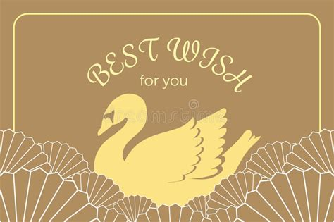 charm card template vintage golden swan in japanese and style