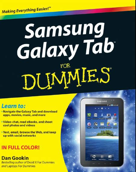 Dan Samsung Galaxy Tab welcome to kor ey for e books ម នក អ samsung galaxy tab for dummies by dan gookin