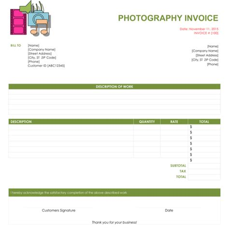 5 Photography Invoice Templates To Make Quick Invoices Microsoft Word Photography Invoice Template