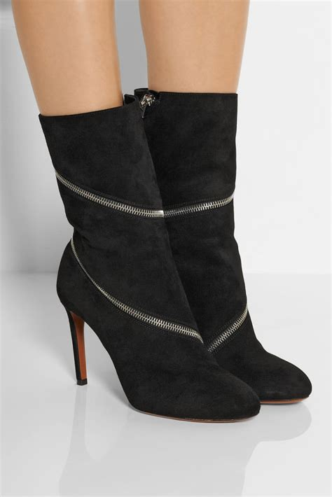 alaia boots ala 207 a zipped suede ankle boots shoes post