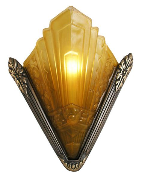 Art Deco Wall Sconces Lighting Recreated Marseilles French Art Deco Slip Shade Sconce