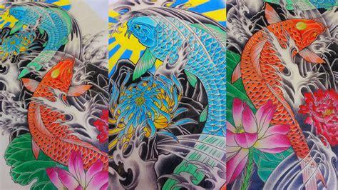 tattoo ikan koi colour full koi fish full sleeve color study i drew for fun adam sky