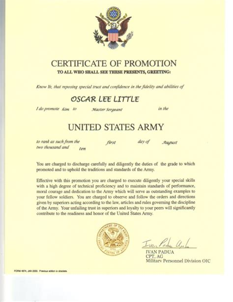 army promotion certificate template oscar master sergeant promotion oders pdf