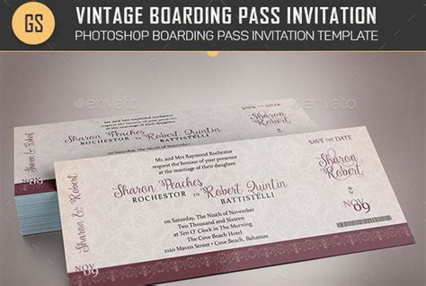 boarding pass place card template 30 graphics items for holidays anniversaries festivals