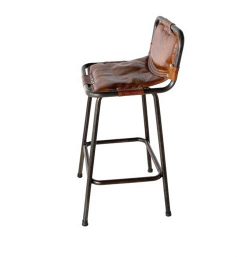 Leather Counter Stools With Backs Leather Barstool Rustic Steel Frame With Leather Sling
