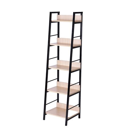 Homcom 5 Shelf Modern Ladder Bookcase Golden Oak Black Shelf Ladder Bookcase