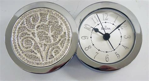 bulova small decorative metal alarm clock  hinged swivel cover  ebay