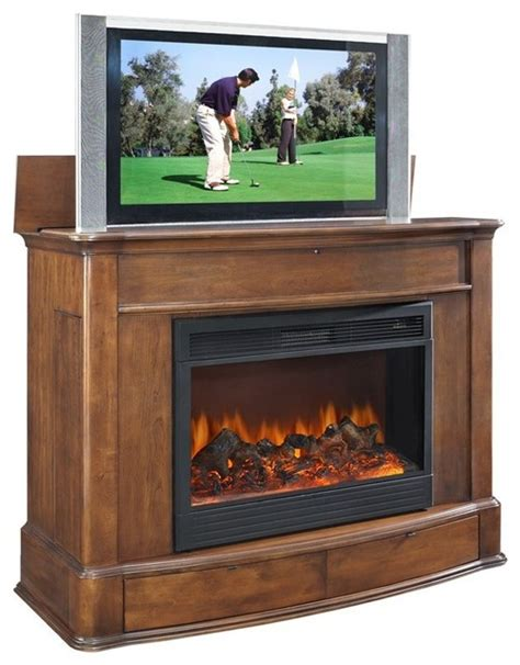 tv lift cabinet with fireplace tvliftcabinet soho tv lift cabinet with fireplace indoor