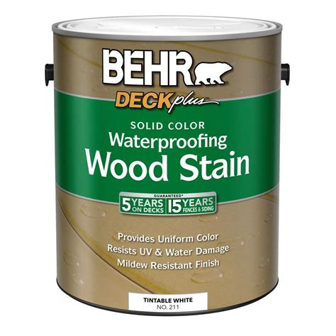 Dm016 Base 1 White behr deckplus 1 gal white base solid color waterproofing exterior wood stain 21101 the home depot