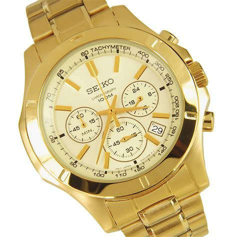 seiko chronograph stainless steel mens gold ssb112p1