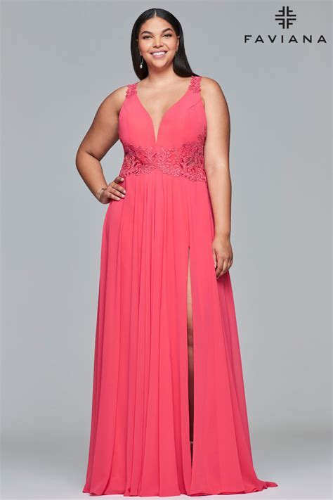 Faviana Curve 9433 Large Size Flowing Prom Gown: French